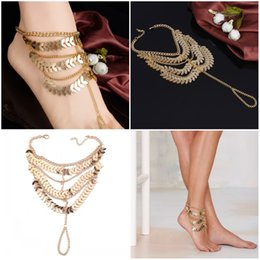 Wholesale Sheets For Girls - Multi Layer Long Tassel Metal Sheets Anklets For Women Ankle On Leg Barefoot Sandals Foot Jewelry Anklet Free DHL G56L