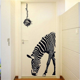 Wholesale Decal Stickers Print Paper - Fashion Black Animal Wall Stickers Removable Print Mural Art Decal Wallpapers