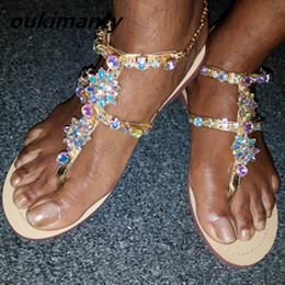 moda sandálias planas ouro Desconto Mulheres da moda sandálias das mulheres sapatos de verão sexy strass gladiador plana confortável das senhoras sapatos de primavera de ouro # Y0614173Q