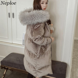 Wholesale thick korean coat women - Neploe Women Velour Thick Bread Cotton Coat 2018 Korean New Fashion Fur Hooded Warm Parkas Loose Long Padded Jackets 66267