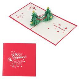 Wholesale greeting arts - 3D Pop Up Handmade Creative Christmas Tree Greeting Card New Year Xmas Gifts Art W215