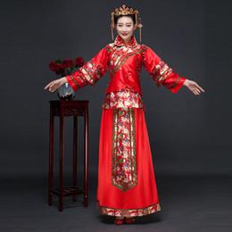 chinesischer roter rock Rabatt Neue Ankunft Rote Chinesische Braut Kleid Frauen Anzug Bluse + Rock Chinesische Braut Cheongsam Kostenloser Versand 16