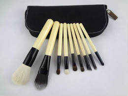 Wholesale Case Lips Leather - Quality Professional 9 PCS Face Cosmetics Makeup Brushes Set Make Up Foundation Lips Brushes Wood Face Care With Leather Pouch Case
