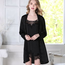 d0e1fc42f9 Sexy Women Silk Sleepwear Set Lace Lingerie Satin Bathrobe and Mini Night  Dress Full Sleeve Lounge Set 2 Pieces