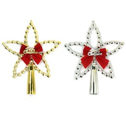 Wholesale Christmas Tree Star Top - New Arrival Christmas Decorative Stars Christmas Tree Top Decor Ornament Sliver Gold Bling Star for Xmas Festival Party