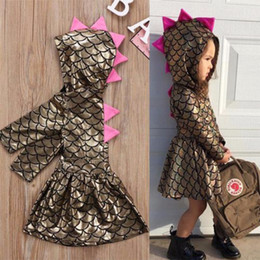 Wholesale Girls Hooded Dress - Girls Dress Scales Hooded Long Sleeve Fish Scale Design Breathable Cool Summer Skirt for Baby Girls 6M-4T