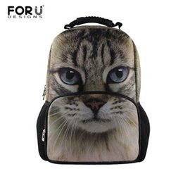 Wholesale White Cat Backpack - Wholesale- Fashion Women Backbag 3D Animal Backpacks Cute Cat Owl Tiger School Bagpack for Girls Students Children's School Bag Backpac