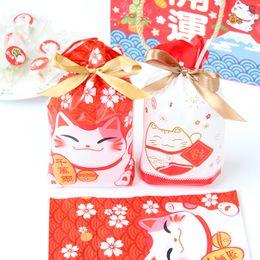 Biscoitos vermelhos on-line-Ano novo em estilo japonês Red Fortune Cat Biscuit Gift Bags Drawstring Leite Nougat Embalagem Bolsa