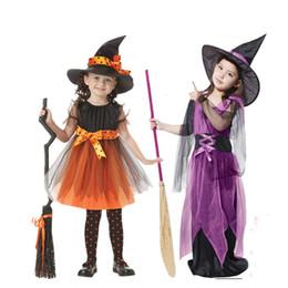 vestido floral de pele falsa Desconto Magia Bruxa crianças Halloween Dress Hat para meninas Desempenho Cosplay Festa de Dança Adereços halloween Caçoa o presente