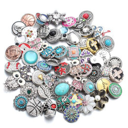 Wholesale European Style Bead Earrings - mix style 50pcs lot New 18MM Snap Jewelry Mixed 50 Designs Rhinestone Metal Snap Buttons fit 18mm Snap Bracelet Bangle Earrings Necklaces