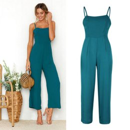 Wholesale Women Suspender Pants - 2018 Summer Women Sleeveless Pants Suspenders Strap Rompers One-Piece Jumpsuits Wide Leg Trousers