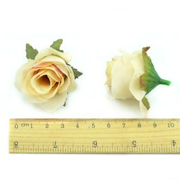 Tête artificielle fleurs artificielles en Ligne-100 Pcs Soie Artificielle Rose Tête De Fleur Scrapbooking Fleurs Boule Pour La Décoration De Mariage Scrapbooking Guirlande Accessoires À La Maison