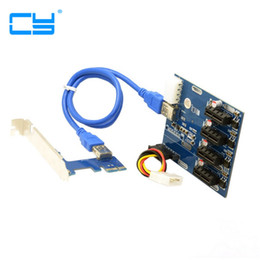 Wholesale Pci Hub - 1PCS PCI-e Express 1x to 4 Port 1x Switch Splitter Multiplier Hub Riser Card with USB 3.0 Cable