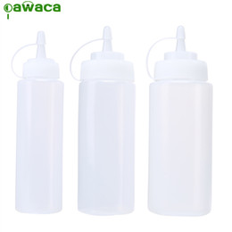 Wholesale plastic condiment bottles - Pawaca Plastic Squeeze Bottle 3pcs Set 8 Oz 12 Oz 16 Plastic Kithcen Condiment Dispenser for Sauce Vinegar Oil Ketchup Cruet