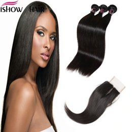 Wholesale Indian Hair For Extensions - Free Shipping Good8A Brazilian Indian Malaysian Virgin Hair Sliky Straight 3Pcs With Lace Closure Unprocessed Hair Extension For Black Women