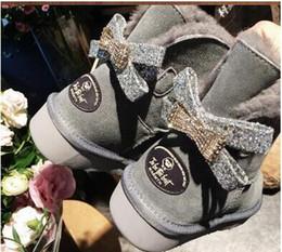 2019 Australia WGG clásico alto Rhinestone botas de invierno de cuero real Bailey Bowknot arco bailey de las mujeres botas de nieve zapatos botas de diamante desde fabricantes