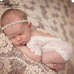 Wholesale baby shooting - Fotografia Newborn Photography Props Baby Girl Lace Romper Infant Photo Shoot Clothes White Black V Cut Open Back Romper