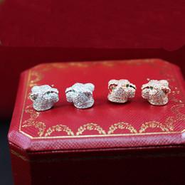 2019 animais do cloisonne S925 brincos de prata esterlina para as mulheres de design da marca banhado a ouro zircão jóias animal bonito brinco de leopardo atacado animais do cloisonne barato