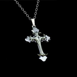 Wholesale Titanium Cross Necklaces For Men - whole saleChristian Cross Choker Necklace Cool Three Layers Stainless Steel Titanium Long Necklaces For Women Men Jewelry Accessories C1