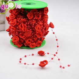 Wholesale Arts Crafts Pearls - 5M bag Fishing Line Pearls diy Cloth art rose silk flower wedding party decorative crafts Multicolor artificial flowers