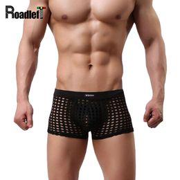 Wholesale Net Sexy Panties - Men's Sexy Transparent U Convex Pouch Underwear Boxers Male Fishnet Nylon High Quality Boxer Shorts Men Net Underwear Panties