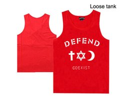Wholesale tank top undershirts women - new style casual hip hop high quality defend men's muscle undershirt for men and women defend hip hop muscle tank tops o-neck