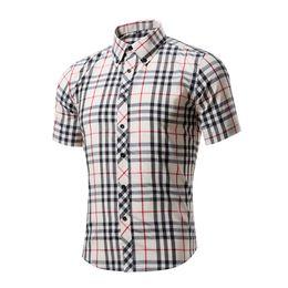 Wholesale red white plaid shirt - Men's Shirts Men Clothes Slim Fit Plaid Casual Designer Dress Shirt Summer Chemise Homme Mens Checkered Shirts Short Sleeve Blouse DH093