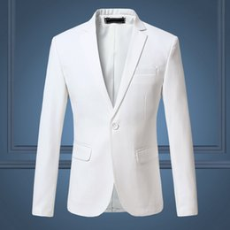 Wholesale Pure Flow - 2018 Spring and Autumn Large Size Men's Casual Flow of Pure Color Blazers Men, High Quality Gentleman Men Slim Casual White Suit