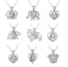 Wholesale Pearl Tree - 2018 Love Wish Pearl Cages Locket Necklace Hollow Out Animal Oyster Freshwater Pearl Elephant Life Tree Heart DIY Mother's Day Jewellery