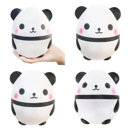 Wholesale Squishy Eggs - 2018 Hottest Squishies Kawaii Panda Egg Squishy Super Soft Slow Rising Jumbo Squeeze Phone Charm Cream Scented Reduce pressure Toy DHL Free
