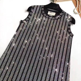 Wholesale diamond club dresses - Brand Designer Luxury Rhinestone Women Dresses 2018 Summer Fashion Lady Sleeveless Diamonds Beaded Knitting Tank Party Cocktail Club Dresses