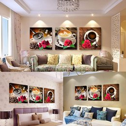 tea wall decor Coupons - Swan Rose flower Milk tea coffee Wall Art Canvas Painting Hot Sale Poster Wall Pictures Living Room Home Decor Modular Pictures