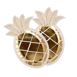 Wholesale party tropical - ipalmay Gold Foil Pineapple Paper Plates Tropical Beach Party Decor, Luau Summer Table Decor Dessert Dinner Plates