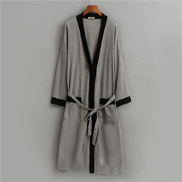 7781f72783 Fashion Bathrobe 2018 Plus Size Cotton V Neck Nightgown For Men Sashes Long  Sleeve Men Robes Autumn Winter Ds5082