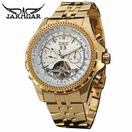 Wholesale jaragar stainless steel mechanical watch - 2017 New Jaragar Gold Watches Luxury Brand Men's Fashion Automatic Hollow Out Man Mechanical Watches Waches relogio masculino