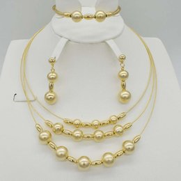 Wholesale Italy Gold Necklace - whole sale2017 New Top Quality Italy Dubai Jewelry Set For Women Fashion 3color Silver Rose Gold Color Fine Bracelet Earring Necklace Sets
