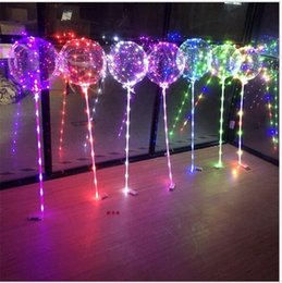 Wholesale birthday wave - With stick LED bobo ball Light up 18inch Balloons 3m LED light string transparent clear wave balloon for Birthday Wedding party garden