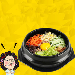 Wholesale Korean Porcelain - Classic Korean Cuisine Dolsot Stone Bowl Pot For Bibimbap Ceramic Soup Ramen Lithium Porcelain Bowls With Tray Heat Resisting Pots 16ff2 Z