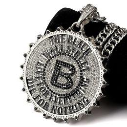 Wholesale Big Crystal Rock - 2018 I Gear Round Card Big B Pendant Necklace Fashion Star Hip Hop Rock DJ Bar Dance Accessories Gold Chain Men Jewelry