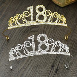 Wholesale Sequin Diamond Hair - Decorative crown alloy diamond forever 18 years old 6 inch 8 inch 10 inch headdress birthday hair accessories