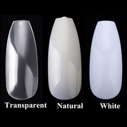 Wholesale finger nail decorations - 600PCS Bag 3D Fake Nails Tips Ballerina False Nails Coffin Shape Full Cover Acrylic Nails DIY Nail Art Tips Decoration Manicure