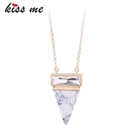 Wholesale Long Beaded Necklace Designs - KISS ME Simple Fashion Marble Triangle Pendant Necklace New Design Long Necklace Summer Women Jewelry