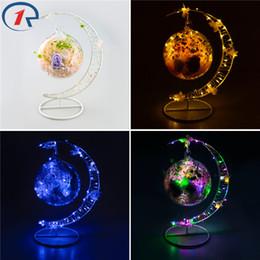 flor de la luz de la luna Rebajas Al por mayor- ZjRight Moon forma de decoración de vidrio de colores LED cadena de luz interior fragancia Eternal Flower Holiday kid's regalos de cumpleaños