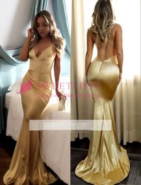 Wholesale Custom Deco - 2018 Sexy Gold Mermaid Prom Dresses Spaghetti Straps Ruched Evening Dresses Cheap Hot Sale Party Gowns