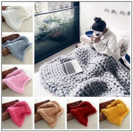 Wholesale handmade wool blankets - 20 Colors 60*60cm Chunky Knit Blankets Merino Wool Handmade Blanket Sofa Air Condition Bed Weave Knitted Photography Blankets CCA8464 100pcs