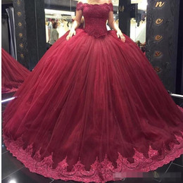 Wholesale Exposed Zipper Top - Burgundy Ball Gown Tulle Quinceanera Dresses 2018 New Elegant Off the Shoulder Lace Sequins Appliques Top Organza Long Sweep Train Gowns_