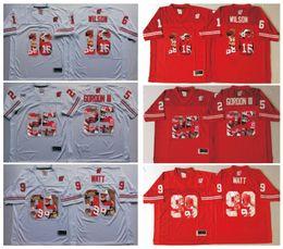 Wholesale Russell Football Jersey - 16 Russell Wilsons 25 Melvin Gordon III 99 JJ Watt Wisconsin Badgers Red Men Jersey Mens College Football Jerseys White