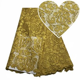 nigerian guipure lace dresses Promo Codes - Gold Latest High Quality African Lace Style Nigerian Cord Lace Fabric For Wedding Bridal Dress Guipure Lace Fabric mesh embroidered 5 Yards