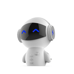 Wholesale cute cell phone stands - 2017 Cute Mini Robot Speaker Bluetooth Stereo Handsfree Noise Cancelling Speaker Support AUX TF MP3 Music Player Cell phone Call