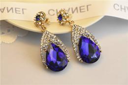 Canada 2019 brillants cristaux de mode boucles d'oreilles strass Longue boucle d'oreille pour les femmes bijoux de mariée 6 couleurs cadeau de mariage pour un ami cheap wedding earrings Offre